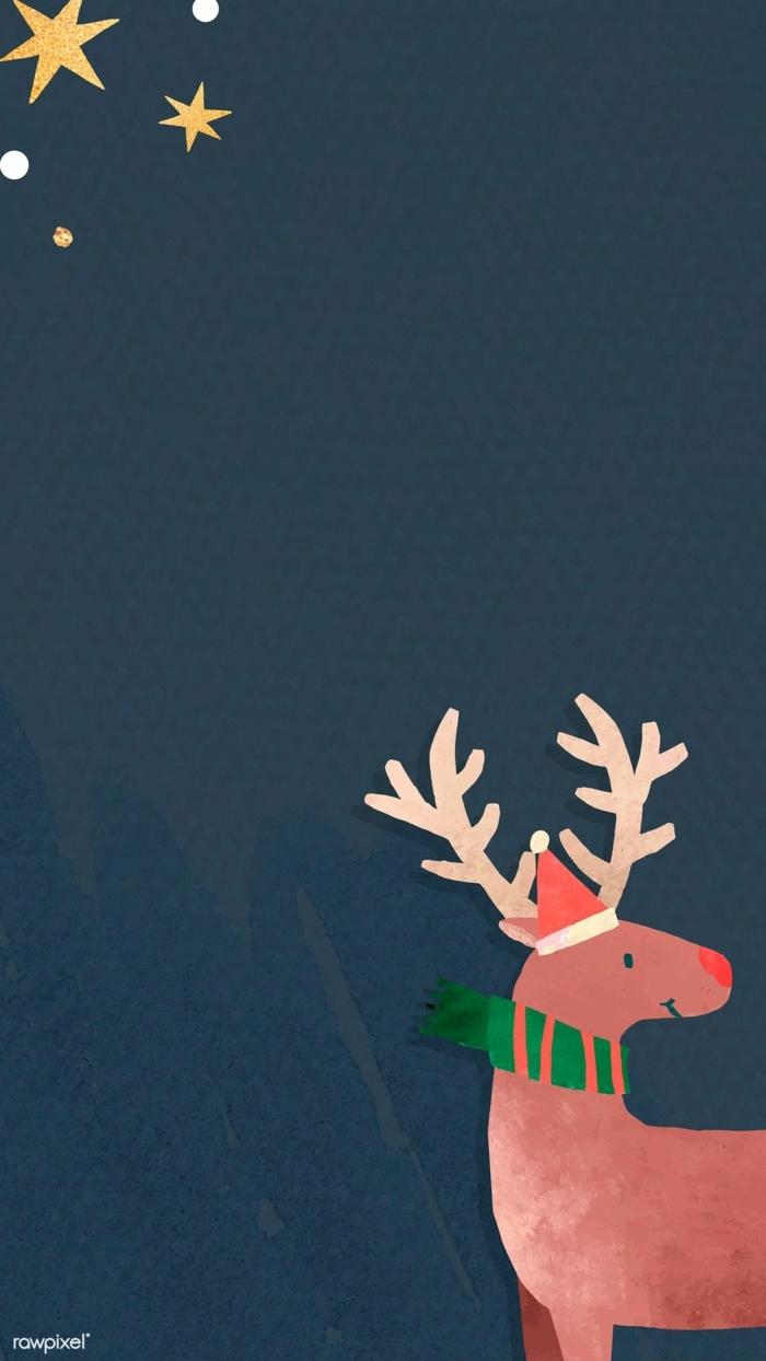hirsch mit grünem schal zeichnung weihnaxchts hintergrundbilder handy festliche bilder wallpaper handy
