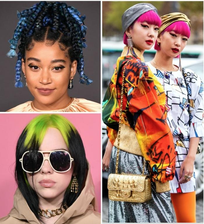 inspiration frisuren für damen 2020 pinke kurzhaarfrisuren schwarze haare mit grüner strähne hochgesteckte frisuren blaue haare
