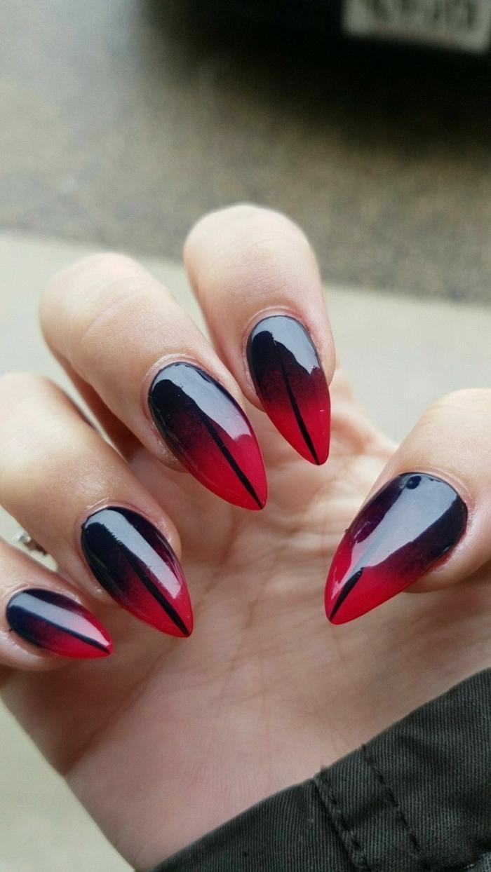 inspiration maniküre stiletto nagelform spitze gelnägel schwarz roter nagellack verlaufend kreatives nageldesign