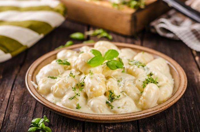 kartoffel gnocchi gnocchi teig rezept mit gnocchi blauer käse knoblauch soße basilikum gnocchi zutaten teller portion