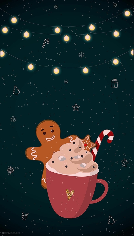 kreative weihnachtsbilder hintergrund tasse mit getränk und zuckerstange männchen keks wallpaper weihnachten süß
