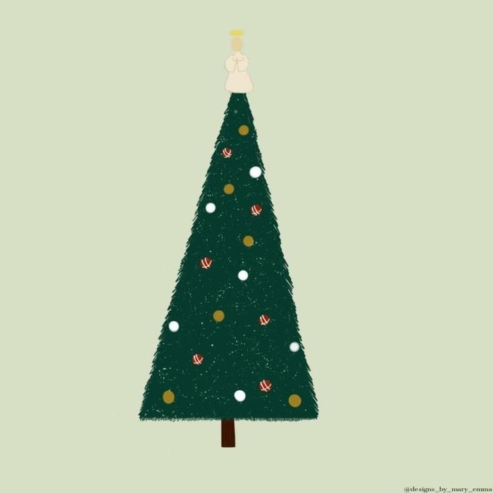 kreative zeichnung dekorierter weihnachtsbaum mit einem engel weihnachtsbilder hintergrund handy kostenlos