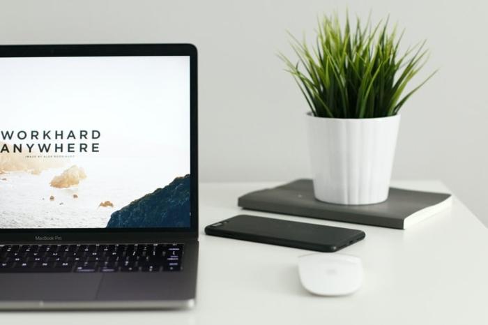 mac book pro laptop schwarz grüne pflanze auf dem schreibtisch bürü einrichten ideen und inspiration