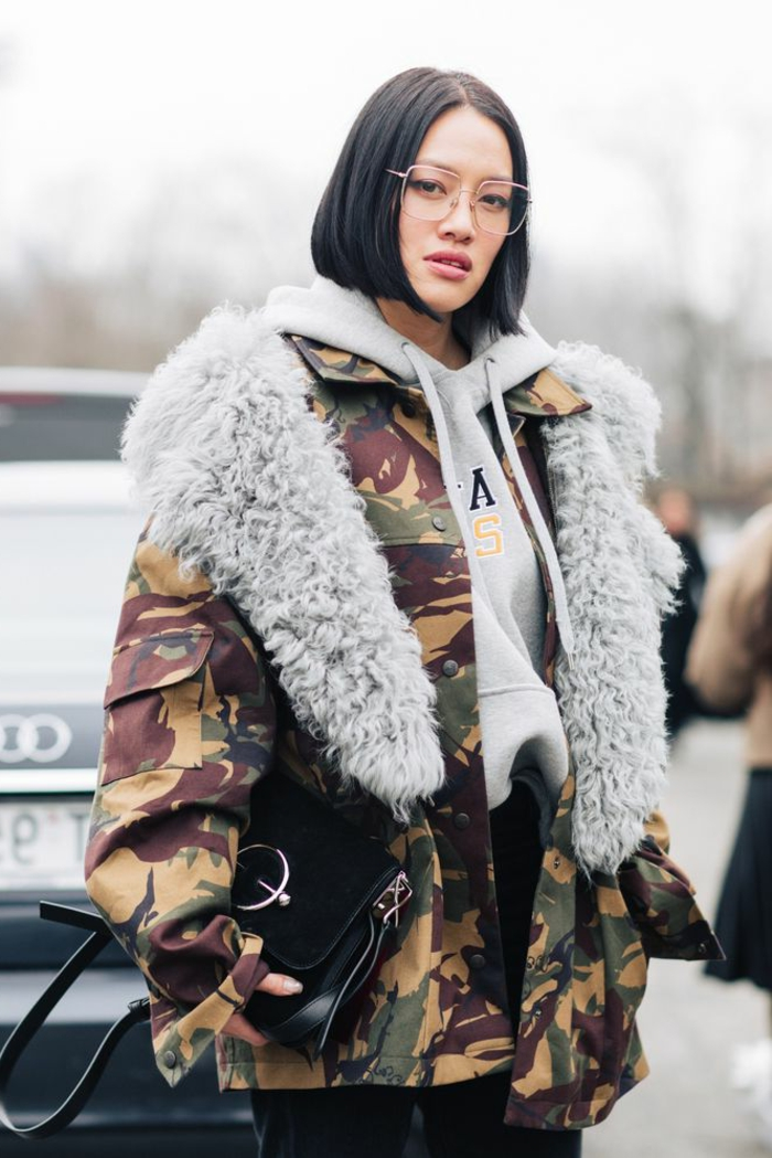 milan fashion week xxl tarnung jacke oversized kurzhaarfrisuren frauen frech kurze schwarze haare grauer hoodie