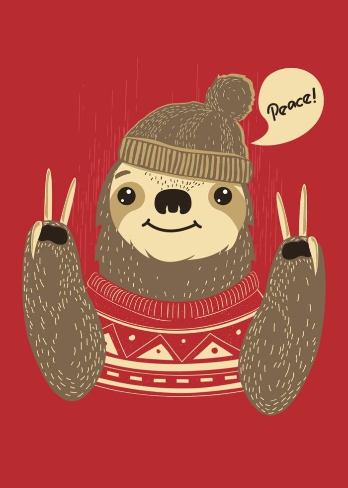 niedliche wallpaper handy bild faultier mit pullover und mütze hintergrundbilder weihnachten kostenlos handy