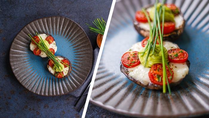 portbello pilze mit füllung aus cherry tomaten und buffalo mozzarella frischer dill