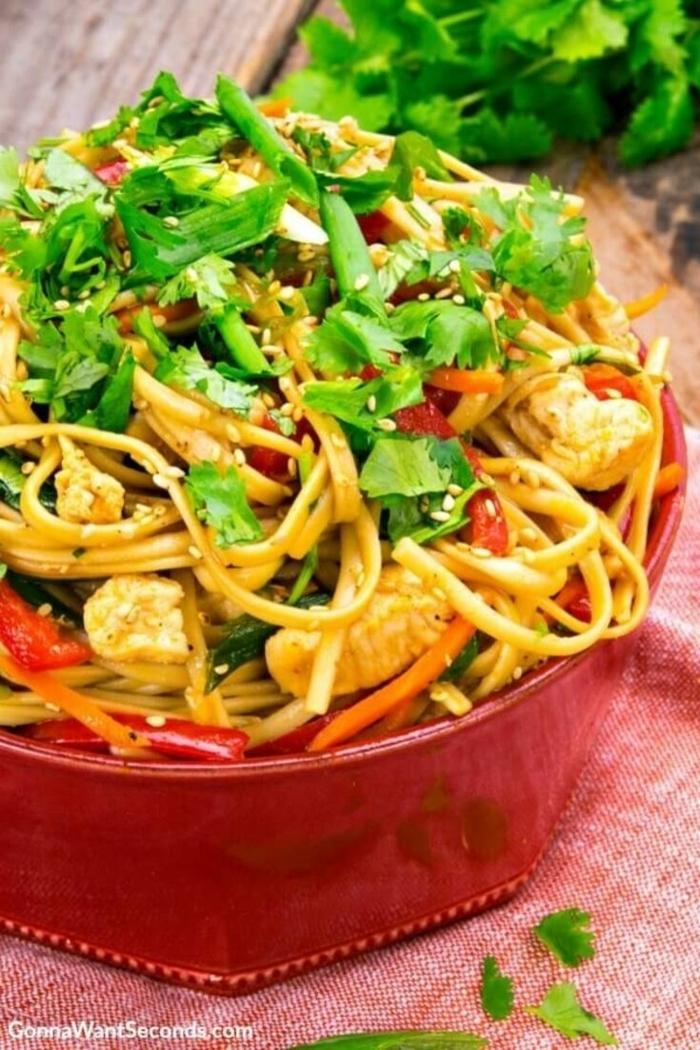 rezepte mit nudeln spaghetti mit gemüse leckeres gericht mittagessen einfach und schnell