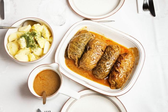 rumänische kohlrouladen rezept sauerkraut rezept klassisch kartoffelsalat supper abendessen ideen