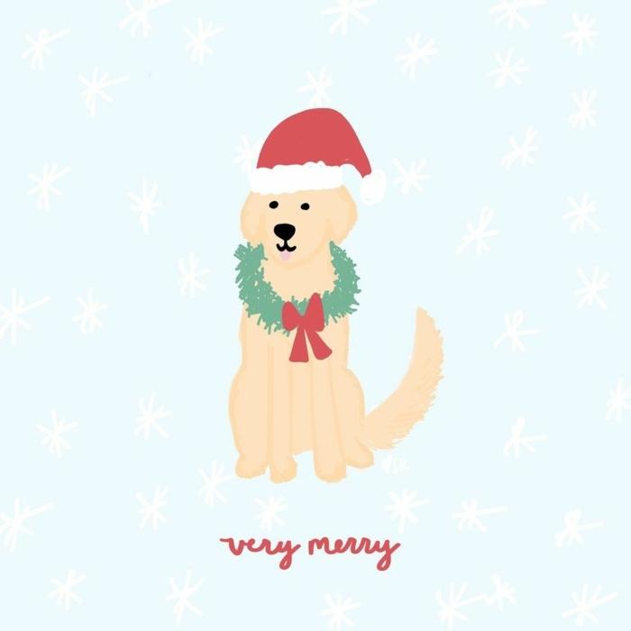 süße hintergrundbilder golden retriever mit weihnachtsmütze und kranz um den hals wallpaper handy weihnachtsbilder