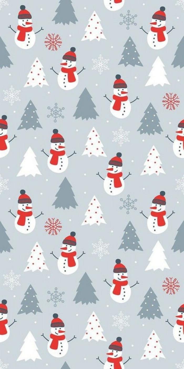 süßer hintergrundbilder handy schneemänner mit schals weiße und grüne tannenbäume schneeflocken christmas wallpaper hd