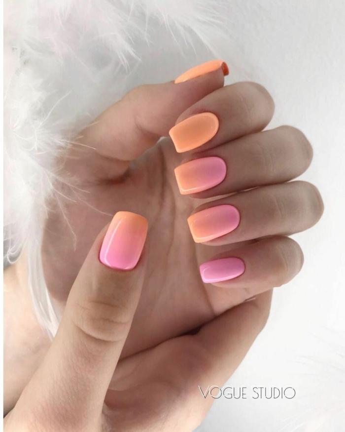 schöne maniküre selber machen nägel ombre pink und orange fließende farben nageldesign inspiration