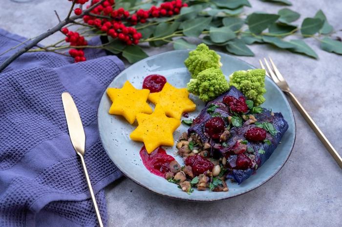 schnelles essen für heiligabend rotkohl maronen rouladen cranberry
