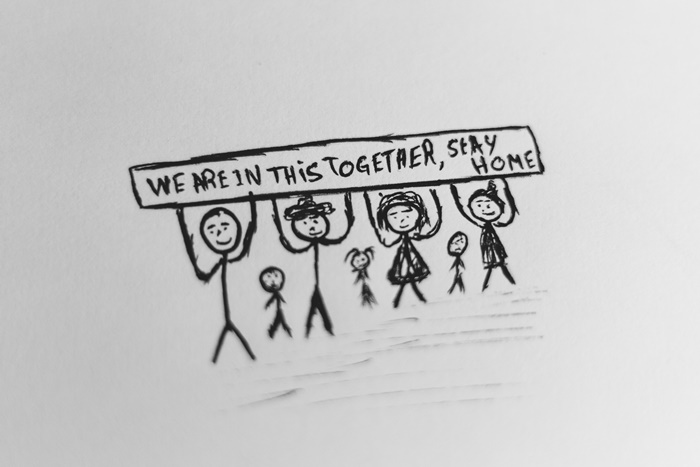 sozialkompetenzen beim fernunterricht kinder lernen covid 19 schwarz graue zeichnung