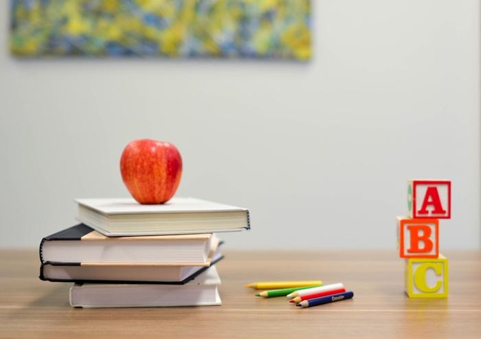 sozialkompetenzen beim fernunterricht lernen zuhause bücher apfel