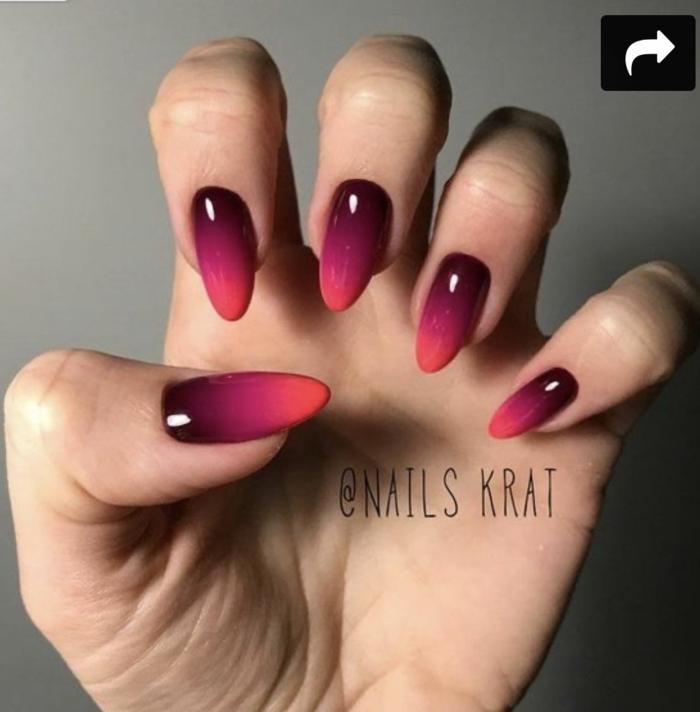 spitze gelnägel ideen inspiration lange nägel fließende farben lila nagellack ombre nageldesign inspo