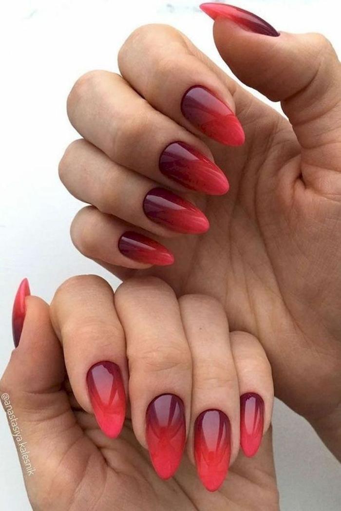 stiletto nagelform lange fingernägel inspiration verlaufender nagellack verschiedene rote töne