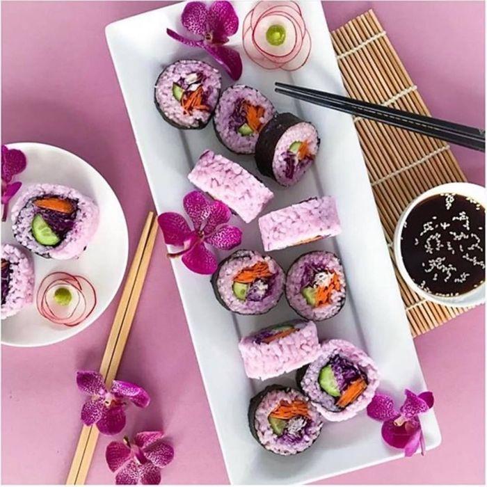 sushi mit lachs zubereiten lila sushi zubereitung rote bete