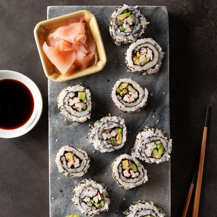 sushi ohne fleisch japanische küche partyessen für gäste fingerfood ideen