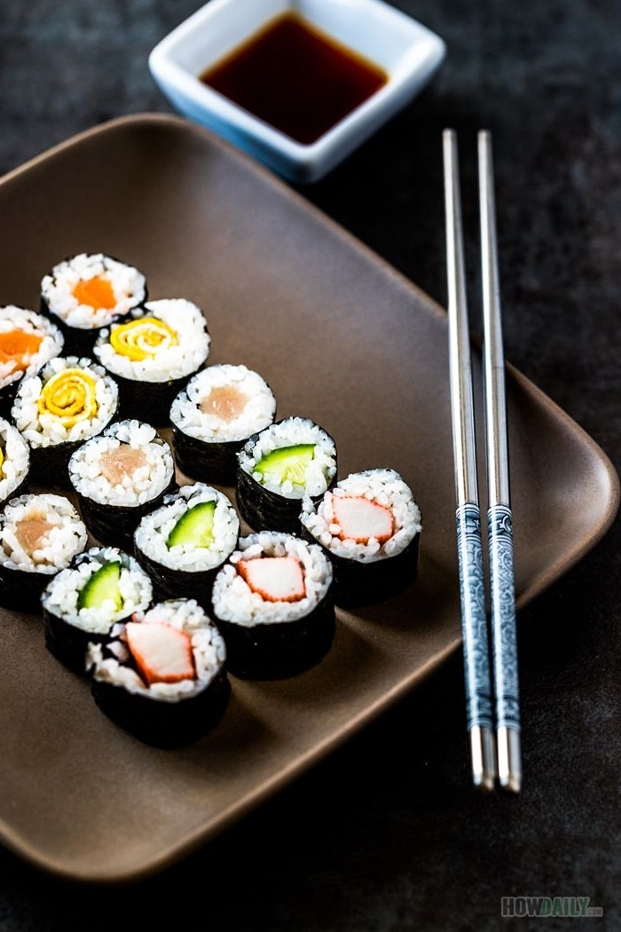 sushi ohne fleisch verschiedene arten japanische häppchen mit reis