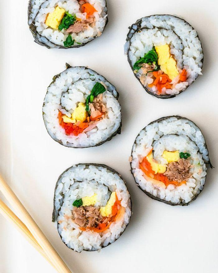 sushi reis vegetatische häppchen anleitung schritt für schritt partyfood