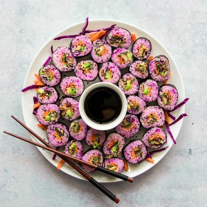sushi selber machen rezept die besten ideen rosa reis japanisches fingefood