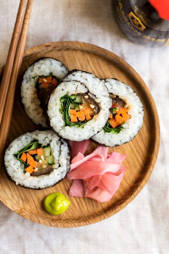 sushi selber machen rezept schritt für schritt zubereitung veggie sushi mit gemüse
