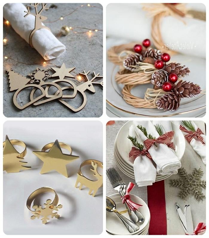 tischdeko weihnachten basteln einfach serviettenringe selber machen goldene sterne ringe aus holz