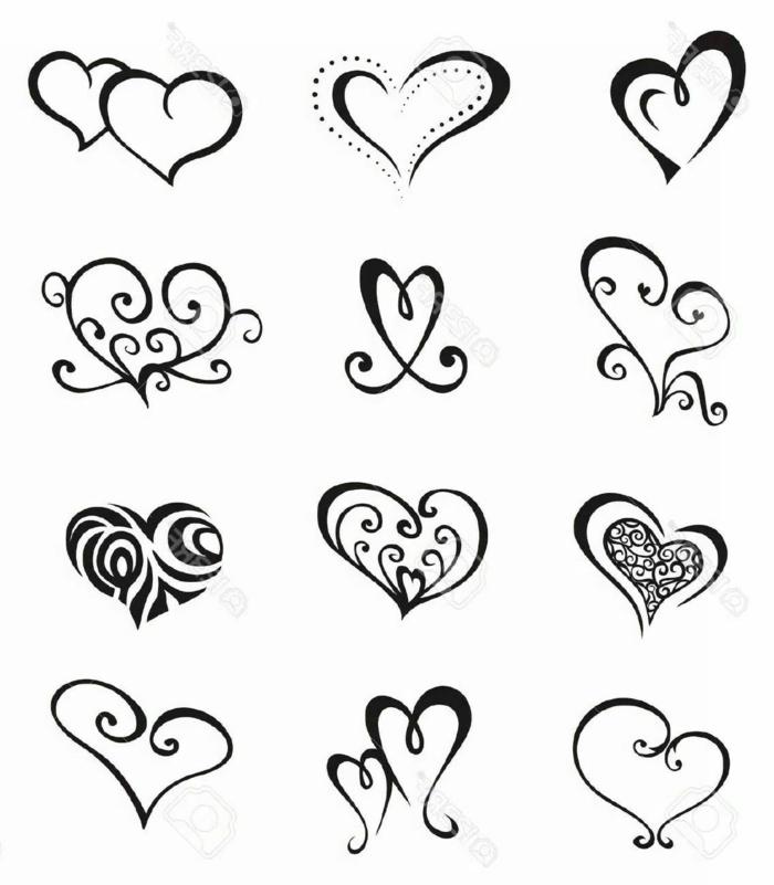verschiedene herzen formen tattoo vorlagen frauen tätowierungen inspiration