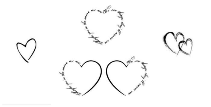 verschiedene motive von herzen mit aufschrift frauen tattoo vorlagen ideen