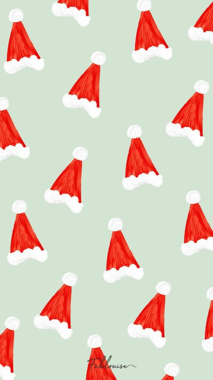 viele kleine rote weihnachtsmützen handy weihnachtsbilder kostenlos als hintergrund downloaden