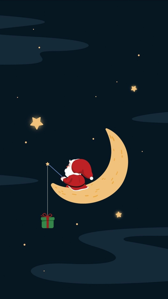 weihnachts hintergrundbilder weihnachtsmann sitzt auf dem mond geschenk auf angel süße weihnachtsbilder handy hintergrund