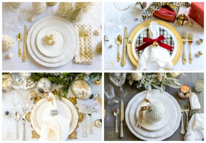 weihnachtsdeko basteln für den tisch festlich tischdeko in weiß und gold weihnachten dekoideen
