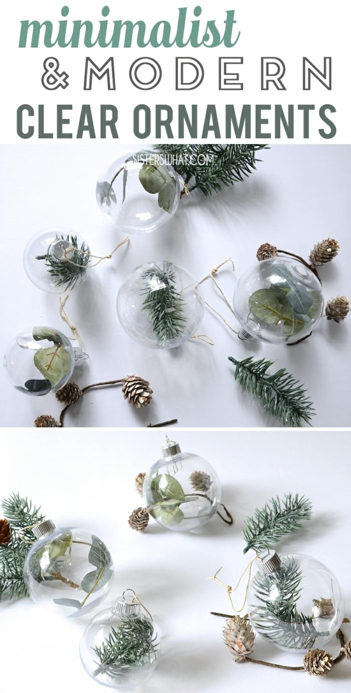 weihnachtsdeko basteln für den tisch weinachtskugel mit tannenzweigen dekroieren winterdeko tischdekoration diy