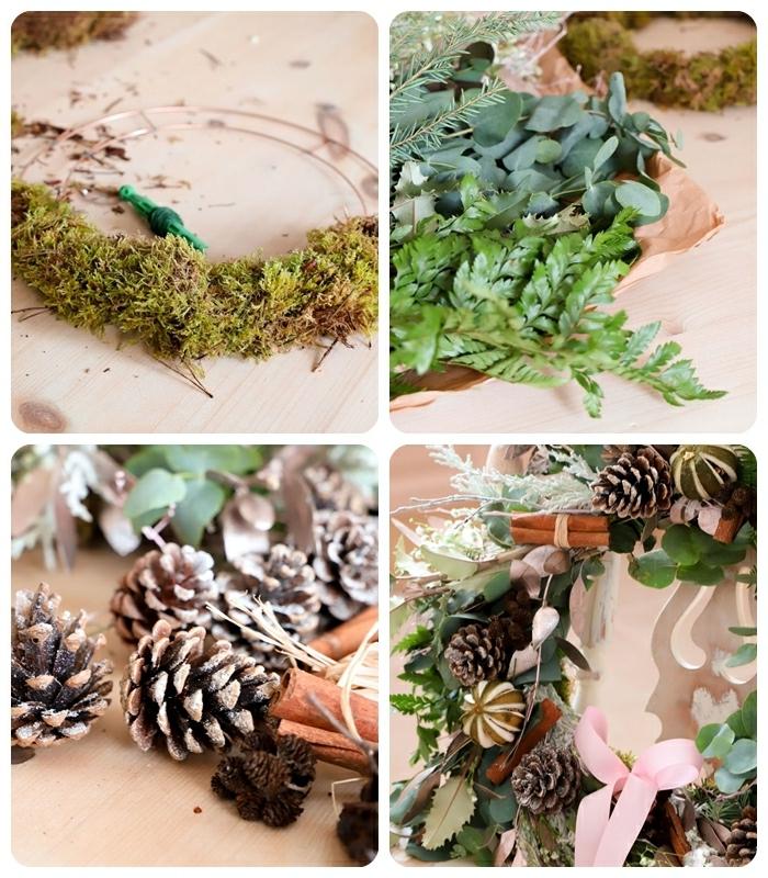 weihnachtsdeko für draussen weihnachtskranz selber machen kranz basteln weinterliche deko aus natürlichen materialien