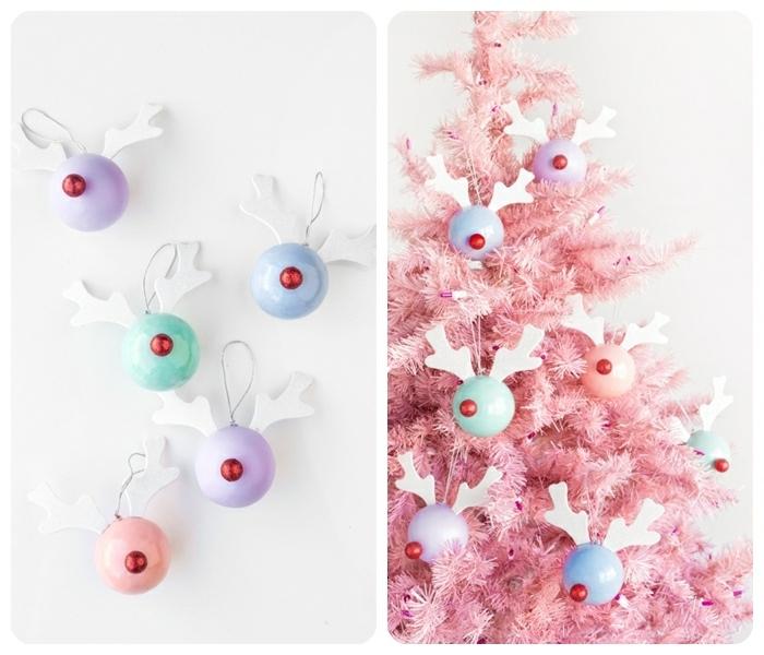 weihnachtsdeko selber basteln weihnachtskugel hirsche kugel mit geweih und nasen rosa tanenbaum christbaumschmuck diy