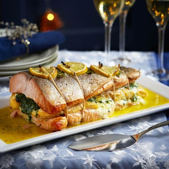 weihnachtsessen rezepte fisch mit spinat zitronen schellfisch braten einfache weihnachtsmenü
