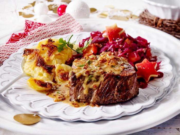 weihnachtsessen rezepte fleisch steak röstzwiebel cognac soße gratin chefkoch weihnachtsessen