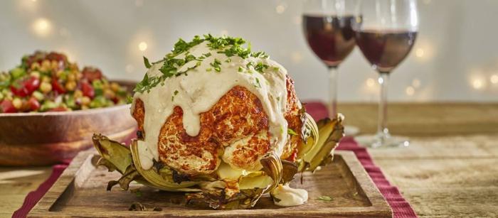 weihnachtsessen rezepte vegetarisch blumenkohl mit weißsoße kichererbsen und würzen