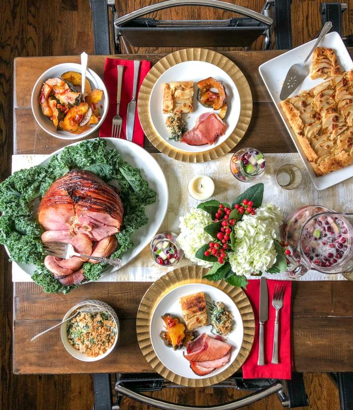 weihnachtsessen stressfrei weihnachtsessen ideen schinken spinat salat weihnachtstisch
