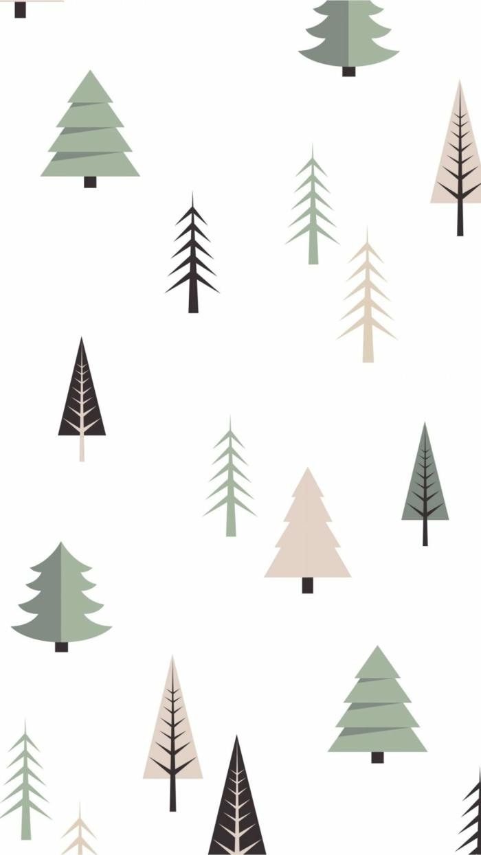 winter fest weihnachten hintergrund handy christmas wallpaper hd zeichnung verschiedene tannenbäume minimalistische bilder