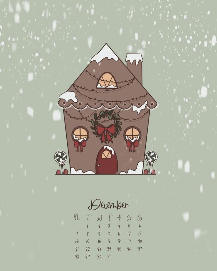zeichnnun kleines haus mit weihnachtsdekoration weihnachtskranz lichter dezember kalender weihnachtsbilder kostenlos downloaden