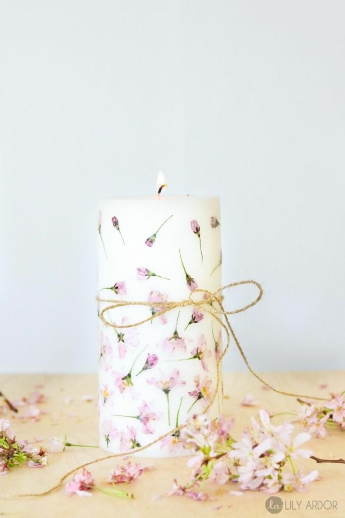 1 große weiße kerze diy geschenke zum muttertag persönlich schritt für schritt selber machen geschenk für mama