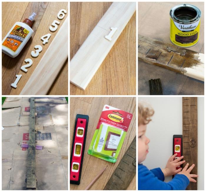 1 kreative ideen diy anleitung schritt für schritt messlatte für kinder aus holz selber machen