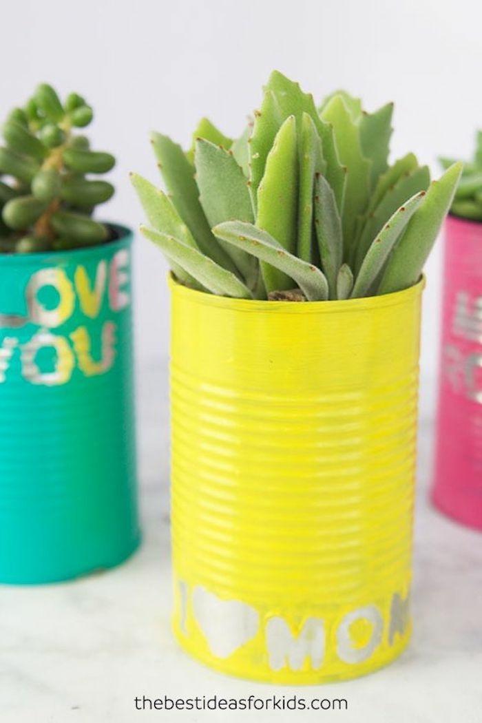 13 upcycling ideen pflanzer aus blechdose selber machen muttertagsgeschenk basteln kinder ideen