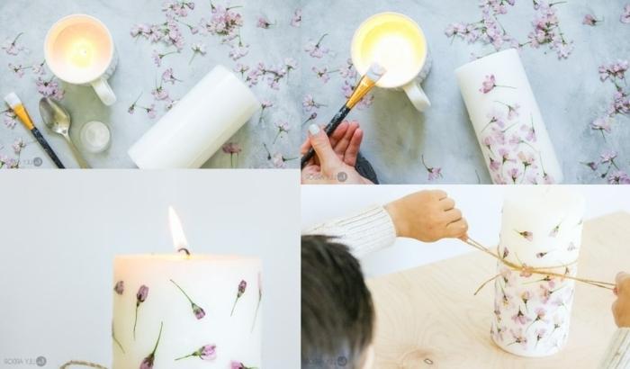2 collage schritt für schritt anleitung kerze selber dekorieren originelle geschenke zum muttertag selber machen