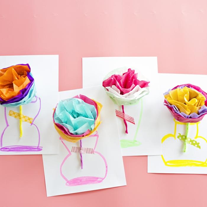 diy taschentuch papier blumen karten muttertagsgeschenk selber basteln diy ideen und inspiration zu muttertag