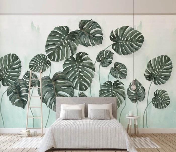 tapeten wanddekorationen aus grünen zimmerpflanzen von tapeten im schlafzimmer