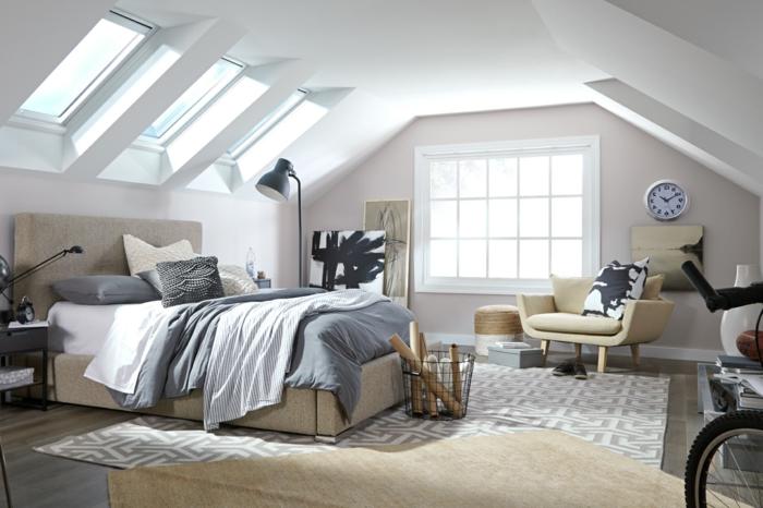 abstraktes schwarz weißes gemälde modernes schlafzimmer einrichtung velux fenster einbauen minimalistische einrichtung