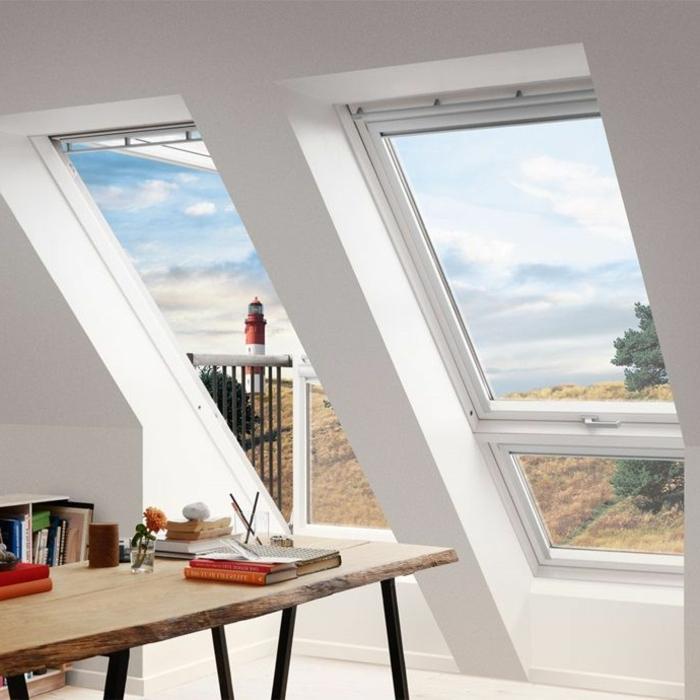 arbeitszimmer einrichtung modern holztisch mit schwarzen beinen aus metall dachfenster austauschen inneneinrichtung inspiration raum mit aussicht
