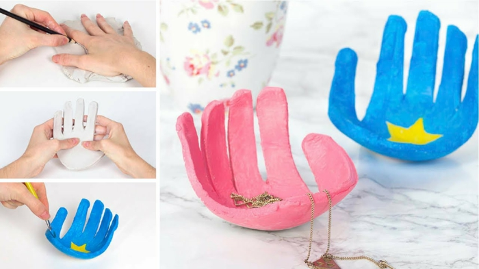 basteln mit kindern handabdrücke aus ton bunt bemalt muttertagsgeschenk selbstgemacht kreative bastelideen